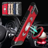 titular de la tarjeta cubierta dura al por mayor-Para iphone X Xr XS Max Armor Hybrid Case Hard Cover a prueba de golpes titular de la tarjeta del teléfono soporte magnético del coche para el iphone 6 8 más
