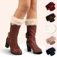 botas de invierno de ganchillo al por mayor-Calentadores de la pierna Mujeres Knit Fur Boot Cuffs Crochet Fashion Trim Toppers Calcetines de arranque de invierno Novia de la boda Foot Cover Calcetines OOA4072