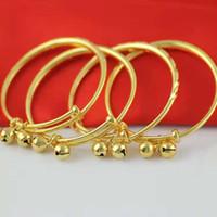 ingrosso braccialetti dell'oro dei monili del bambino-Dolce gioielli per bambini Baby Bells Bracciale Bangles Bracciale in oro giallo 24K Bracciale per bambini Bambini