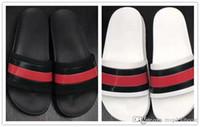 Wholesale Causal Slip Loafers Men - Men designer sandals 2017 causal rubber summer huaraches slippers loafers fashion flats leather luxury Brand slides designer sandals us 7-11