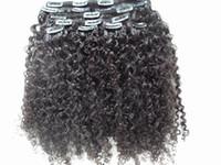 cabeça cheia de cabelo virgem venda por atacado-3B 3C Clipe Em Extensões Do Cabelo Brasileiro Kinky Curly Virgem Do Cabelo Humano Trama Grosso 120G 2 Conjuntos Cabeça Cheia