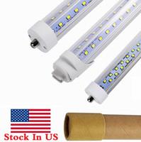 Stock In US + V Shaped 8ft t8 R17D led tubes single pin FA8 8 feet led light tubes Double Rows LED Fluorescent Tube AC 85-265V