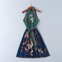 Wholesale wedding dress styles for sale - Group buy 2018 Brand Same Style Dresses Flora Print A Line Knee Length Sleeveless Halter Wedding Dress Embroidery Beads Prom SH