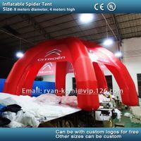 carpa roja inflable al por mayor-Envío gratis 8 m tienda de araña inflable carpa coche inflable rojo con logotipo personalizado feria comercial de publicidad