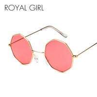 ingrosso telai di occhiali gialli-ROYAL GIRL Vintage Octagon Round Occhiali da sole Donna 2018 Steampunk Small Metal Frame Giallo Rosso Occhiali da sole per uomo oculos ss786