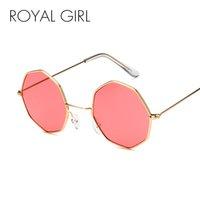 Wholesale smallest round men sunglasses - ROYAL GIRL Vintage Octagon Round Sunglasses Women 2018 Steampunk Small Metal Frame Yellow Red Sun Glasses for Men oculos ss786