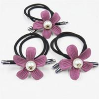 çocuklar mor üst çiçekler toptan satış-10 ADET / GRUP Yaratıcı Mor Çiçek Toplar Kızlar Için Elastik Saç Bantları Bohemian Toka Moda Çocuklar Kadınlar Için Saç Aksesuarları