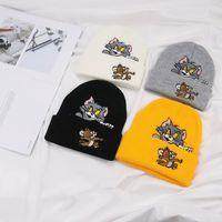 хип-хоп уличные шляпы оптовых-Мужчины женщины зима cpas kanye west хип-хоп уличная одежда Том и Джерри толстый случайный теплый мультфильм хлопок мальчиков шапка шляпа kullies шапочки