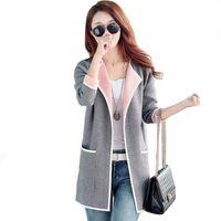 57e2e56c8b0 Women s Autumn Coat Grey pink Long trench coat Big size 2018 Knitted Open  stitch Female trench Windbreaker Cardigan