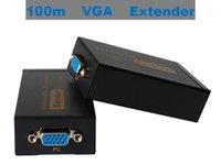 vga genişletici adaptör toptan satış-Ses Cat5e / 6-568B ile 100 m VGA Extender Ağ Kablosu Gönderen Alıcı Adaptörü HDTV Porjector Monitör için Yüksek Çözünürlüklü 1920x1440.
