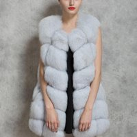 Wholesale Leather Parka Fur - 2016 New Women Winter Sleeveless Faux Fox Fur Leather Thick Coat Outerwear Vest Plus Size Padded Jacket Overcoat Parka Q1778