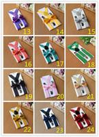 Wholesale Suspenders Bow Ties - 50sets 26colors Kids Suspenders Bow Tie Set for 1-10T Baby Braces Elastic Y-back Boys Girls Suspenders accessories