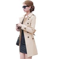 ingrosso cappotto britannico-Autunno Trench coat da donna stile britannico Fashion Slim Solid Doppiopetto Cravatte medio-lungo vento-breakover femminile Sovracoperta S18101303