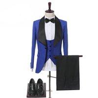 blauer lycra-anzug großhandel-Aufrichtige Royal Blue Bussiness Männer Anzüge Abwechslungsreiche Klassischen Stil Drei Stücke Slim Fit Prom Hochzeit Smoking Dinner Party Dinner Party