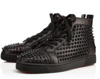 zapatillas de picos negros al por mayor-2018 Recién llegado para hombre Mujer de cuero negro, blanco, negro spikes High Top Red Bottom Sneakers, zapatos casuales de marca 36-47 Envío de la gota