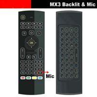 microphones ir achat en gros de-Air Mouse rétro-éclairé MX3 pro avec microphone de voix micro 2.4G sans fil Mini clavier avec apprentissage infrarouge Étendre la télécommande