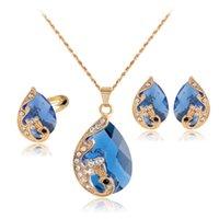 conjunto de jóias cor ouro venda por atacado-Salejiayijiaduo inteiro de Alta qualidade 5 cor de cristal pavão noiva casamento colar de ouro-cor brincos anel conjunto de jóias parure bijoux femme