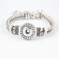 noosa 12mm knöpfe großhandel-DIY Noosa Brocken Kristall Armbänder Versilbert Austauschbare 12mm Druckknöpfe Edelstahl Schmuck Frauen Mode Armband DCBJ237