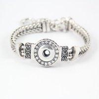 bracelets à 12 mm noosa en morceaux achat en gros de-DIY Noosa Morceaux Cristal Bracelets En Argent Plaqué Interchangeable 12mm Snap Boutons En Acier Inoxydable Bijoux Femmes Mode Bracelet DCBJ237