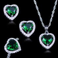 conjunto de collar verde esmeralda al por mayor-LB Corazón Verde Ruso Creado Esmeralda Blanco Circón 925 Sello de Color Plata Conjuntos de Joyas Pendientes pendientes Anillos Collar