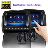 Wholesale mp3 player screen gray for sale - Black X Twin Car headrest DVD player quot FHD Touch Screen car dvd with FM USB SD Game Disc IR Headphones