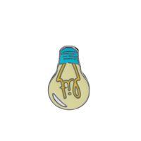 Wholesale green enamel light - Cartoon Enamel Brooch Lit Light Bulb Bag Denim Jacket Lapel Collar Pin Button Pin Badge Fashion Jewelry Gift For Kids Girl Boy