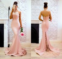 Wholesale open back lace prom dresses - Elegant Mermaid Pink High Neck Prom Dresses 2018 Open Back Lace Evening Gowns Sweep Train Cheap Bridesmaid Dress