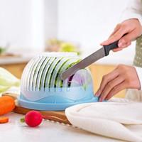 adaptador de cocina al por mayor-Nuevo 60 segundos Fabricante de ensaladas Tazón de cortar frutas vegetales cortador tazón Utensilios de cocina creativos grandes y grandes ensaladas de plástico juego de mezclar adaptador al por mayor