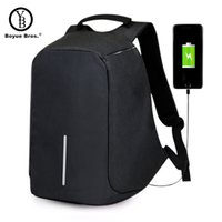Wholesale teenage travelling backpack resale online - Boyue Bros USB Charge Anti Theft Backpack Men Travel Security Waterproof School Bags College Teenage inch Laptop Backpack