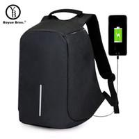 люди безопасности оптовых-Boyue Бразерс USB зарядка анти-кражи рюкзак мужская путешествия безопасности водонепроницаемый школьные сумки колледж 15 дюймовый ноутбук рюкзак подростков