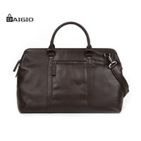 braune tragetasche großhandel-Baigio Herren Braun VintageTravel Bag Leder Laptop Gepäcktasche Weekend Duffel Bags Crossbody Carry On Hand Gepäck Reisetaschen