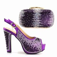 Wholesale italian slingbacks - Women Shoe and Bag Set In Italy Matching Shoe and Bag Set for Wedding purple African Matching Shoe and Bag Italian