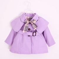 kız giyim toptan satış-Yeni Bebek Yürüyor Kızlar Kadife Coats İlkbahar Sonbahar Yaka Kemer Rüzgarlık Düz Renk Pamuk Ceket Giyim Ceket Hırka Tops