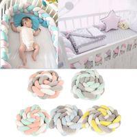 tampon çocuklar toptan satış-2 M Bebek Yatağı Tampon Düğüm Tasarım Bebek Peluş Beşik Pad Koruma Karyolası Tampon Bebek Çocuk Yatak Odası Dekor Yatak Aksesuarla ...