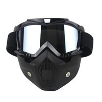 Wholesale motor mask - CAR partment Ski Bike Motorcycle Face Mask Goggles Motocross Motorbike Motor Open Face Detachable Goggle Helmets Vintage Glasses