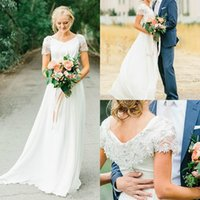 Wholesale elegant boho bohemian chiffon - Elegant Chiffon Garden Beads Wedding Dresses Cap 2018 Spring Plus Size Boho Bohemian Country Style Western A Line Bridal Gowns Vestios Ball