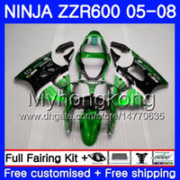 zzr carenados verde al por mayor-Bodys negro Para KAWASAKI NINJA ZZR-600 2005 2006 2007 2008 Verde brillante 219HM.68 ZZR 600 600CC ZX600 CC ZZR600 05 06 07 08 Carenado