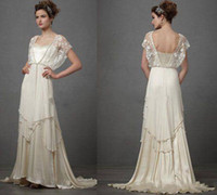 Wholesale short wedding dresses online - Vintage Ivory s Wedding Dresses with Sleeves Catherine Deane Lita Modest Fairy Lace Chiffon V neck Full Length Bridal Gowns