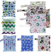 Wholesale baby diaper cartoons - 23 styles Baby Diaper Bags Portable Nappy Storage Bag Zipper Waterproof cartoon printing Diaper Bag Infant Nappy bag C2742