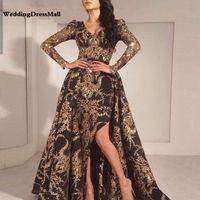 vestido de fiesta fucsia alta baja única al por mayor-Lujo negro oro brillo sirena manga larga vestido de noche 2019 Arabia Saudita Dubai marroquí tren extraíble musulmán vestido de fiesta