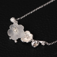 Wholesale Rain Necklace - Original retro Chinese wind handmade silver ornaments, natural crystal pendant necklace, necklace in rain, a series of pure silver necklaces