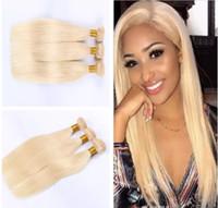 hint remy insan saç sarışın toptan satış-Perulu Malezya Hint Kamboçyalı Brezilyalı Bakire Saç Ucuz İnsan Saç Dokuma Paketler 613 Sarışın Remy Saç Uzantıları