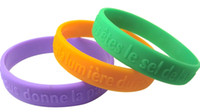 conception en caoutchouc sur mesure achat en gros de-Bracelet en silicone en relief de conception personnalisée de haute qualité, bracelet en caoutchouc de silicone, bandes de sport 500pcs / lot, DHL Livraison gratuite