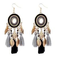Wholesale silver long earings - Long Tassel Earrings Drop Leaf Earrings For Women Crystal Earring Fashion Bohemian Cotton Handmade Fringe Earings Jewelry