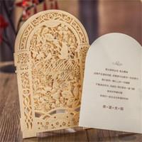 nuevos sobres de invitación de boda al por mayor-Nuevo kit de tarjetas de invitación de boda de encargo del deseo hecho a mano del corte del laser de Wishmade con los sellos de los sellos Impresión Bardian para el cumpleaños 3fm aa