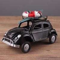 el yapımı metal araba modelleri toptan satış-Retro Cassic Otomobil heykelcik Metal Dekorasyon El Yapımı Demir Klasik Beetle Sailor Araç Modeli Ev Dekorasyon Çocuk Oyuncak Arabalar El Sanatları