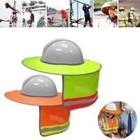 chapéus de segurança venda por atacado-Amarelo Laranja Chapéu Ao Ar Livre Construção Segurança Capacete Sun Sombra Pescoço Escudo Listra Reflexiva Capacetes de Proteção Escudo