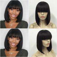 Wholesale Lace Front Wigs Chinese Bangs - Bob Human Hair Wigs With Bangs Straight Brazilian Full Lace Wig With Baby Hair Virgin Lace Front Wig For Black Women