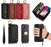 Wholesale iphone plus case wallet zipper online – custom Multifunction Leather Zipper Wallet Card Case For iPhone X S Plus Detachable Filp Cover For Samsung Note S7 Edge S8 Active Case