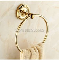 bagues de toilette achat en gros de-Anneaux de serviette de salle de bains fixés au mur couleur or finition laiton lba605